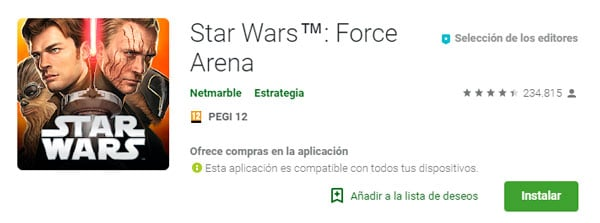 descargar Star Wars Force Arena