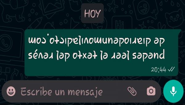 escribir del revés en whatsapp