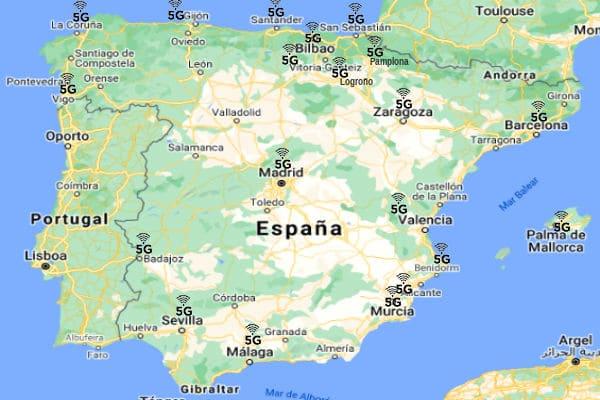 mapa España con redes 5g