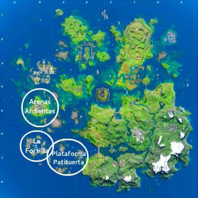 mapa de tiburones botin en Fortnite Temporada 3