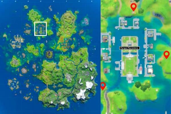 Mapa de Parque placentero en Fortnite Temporada 3