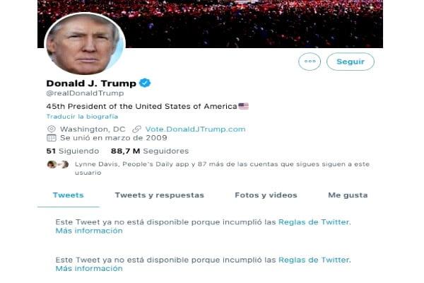 Twitter de Trump suspendido
