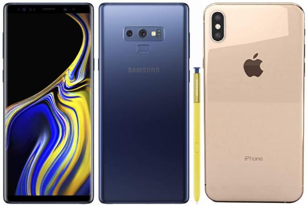 Teléfonos Galaxy Note 9 y iPhone XS