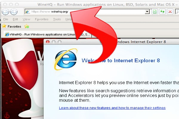 Internet Explorer usando wine