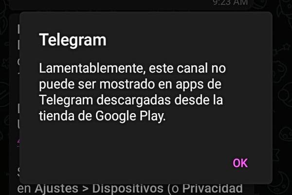Google restringe canales telegram